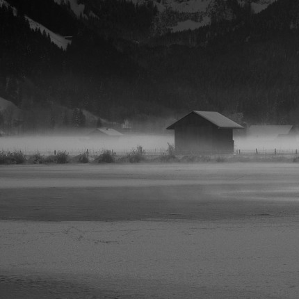 Lenkersee mit Bodennebel, Winter.
