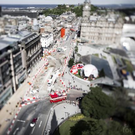 Die Aussicht auf dem Scott Monument in Edinburgh animierte mich dazu, etwas mit der Tilt-Shift Technik herum zu spielen. Durch die verzerrten Schärfenebenen entsteht der Eindruck einer Spielzeugwelt.