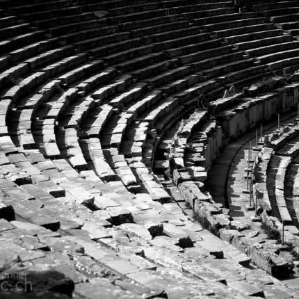 Theater von Epidauros in Schwarz-Weiss