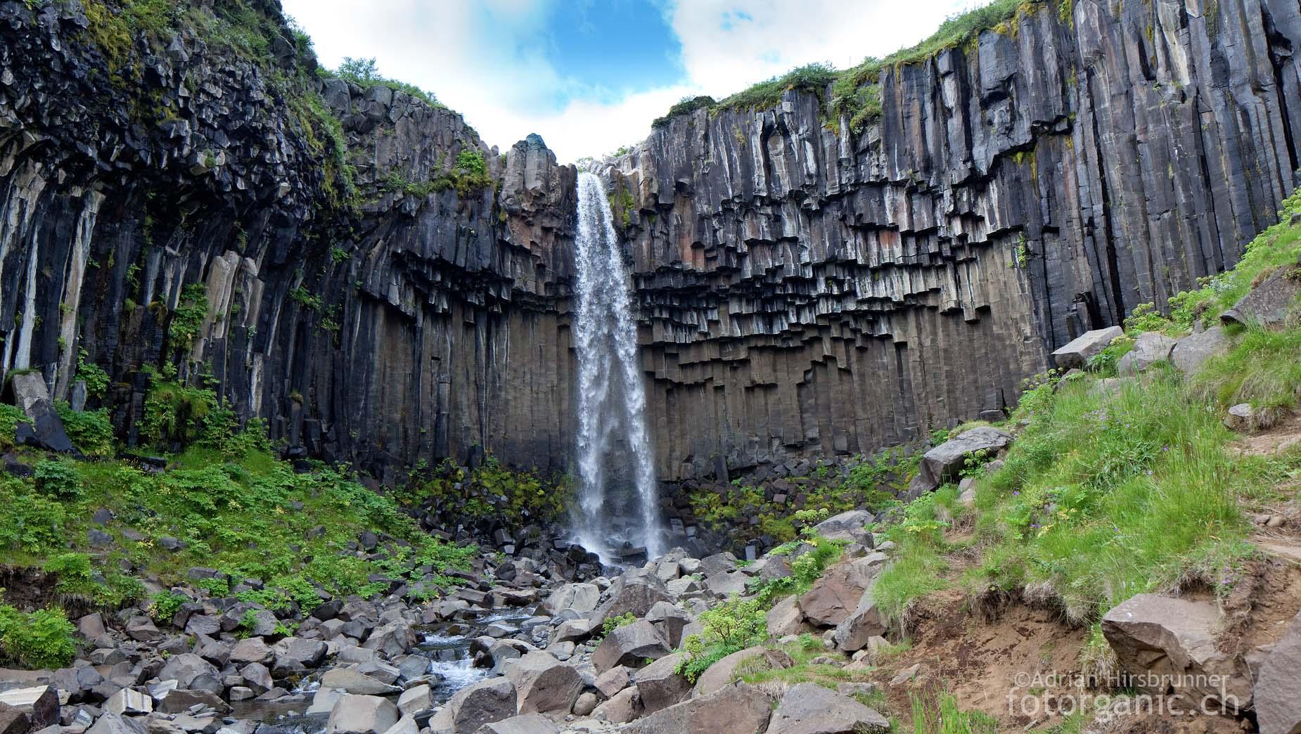 Der Svartifoss-Wasserfall fällt inmitten von Basaltsäulen herunter.