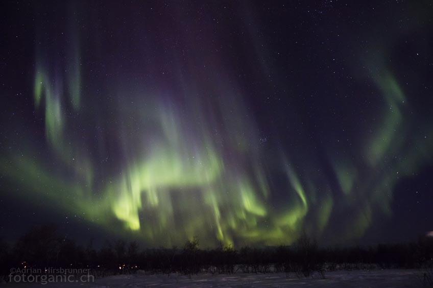 Plötzlich füllt sich der ganze Himmel mit wandernden Nordlichtern.