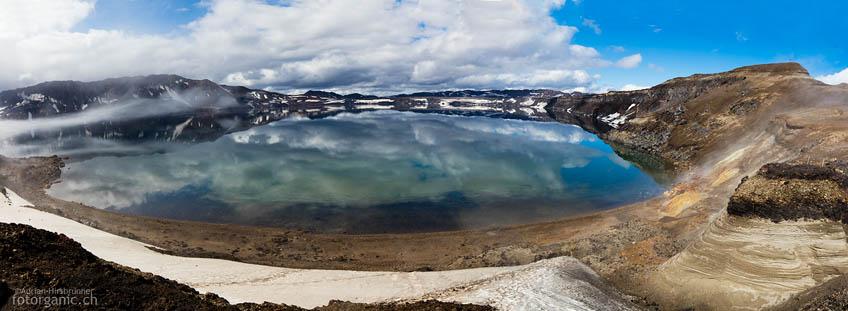 Der Calderasee Östjuvatn gehört mit einer Tiefe von 220m zu den tiefsten Seen Islands.
