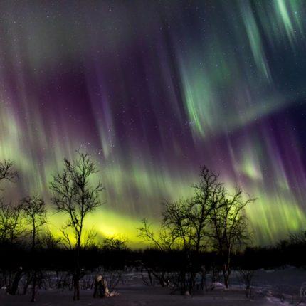 Das Polarlicht leuchtet jetzt in allen Farben. Kurz zuvor hatte es sich so schnell bewegt, dass das Fotografieren unmöglich war.
