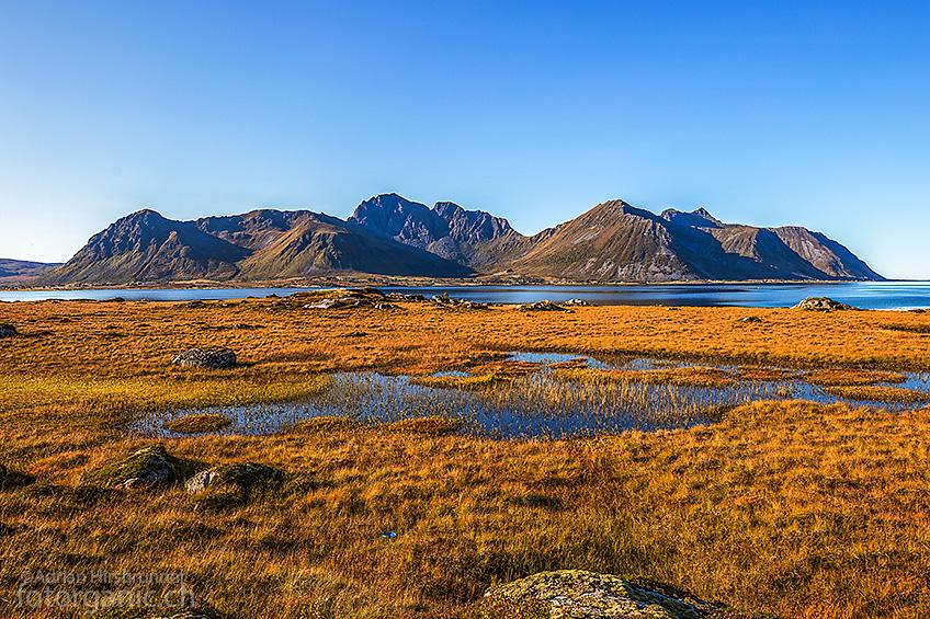 Angenehm warmes Wetter auf der Insel Gimsøya.