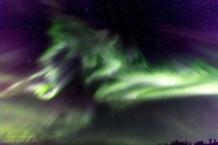 Die zitternden Polarlichter bringen uns zum staunen.
